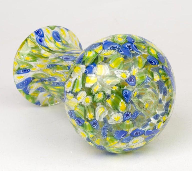 Blown Glass Italian Murano Midcentury Murrine Art Glass Vase For Sale