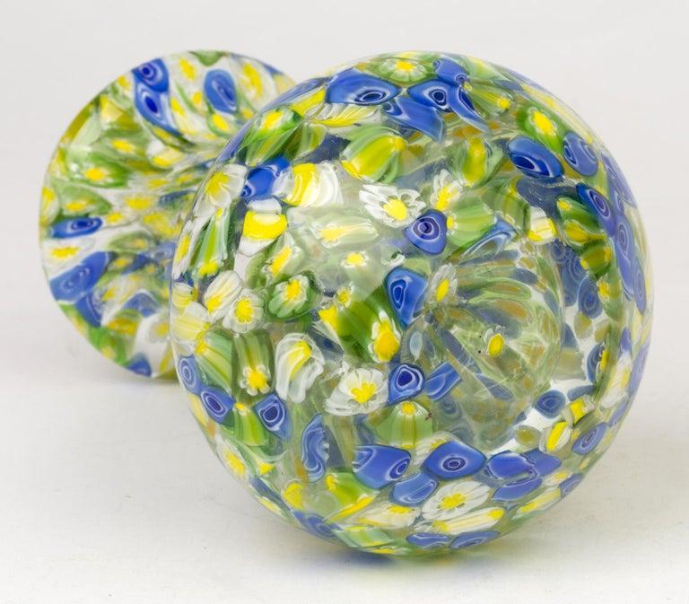 Italian Murano Midcentury Murrine Art Glass Vase For Sale 1