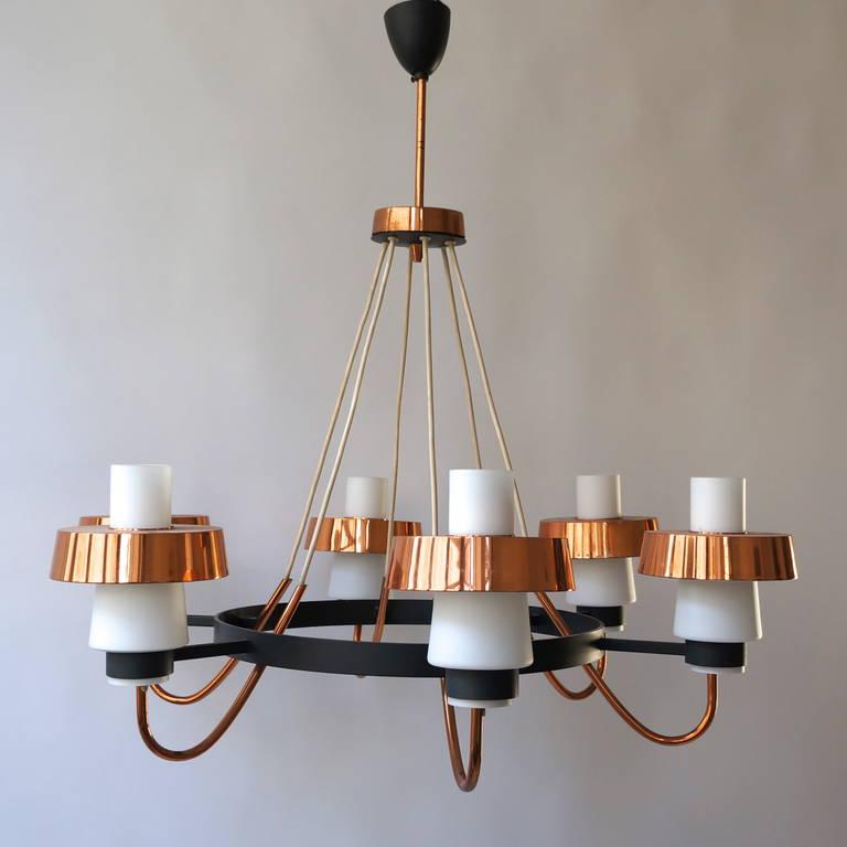 Metal Italian Murano Opaline Glass and Brass Chandelier For Sale
