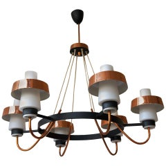 Italian Murano Opaline Glass and Brass Chandelier