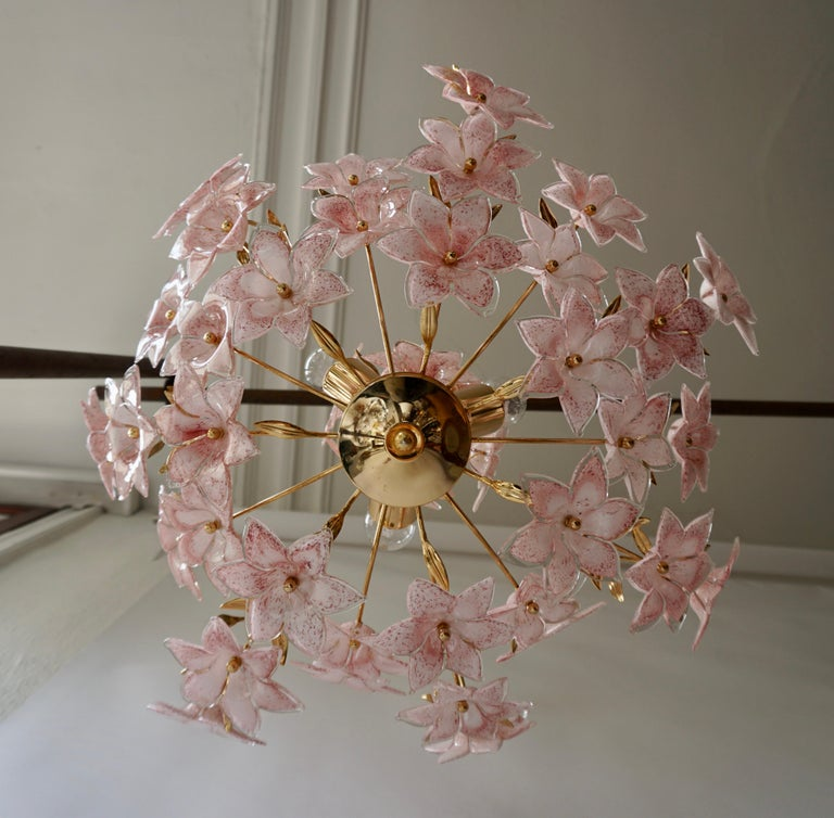 Plated Gold Pink Round Chandelier Murano Franco Luce Design 1970s Italian Flowers