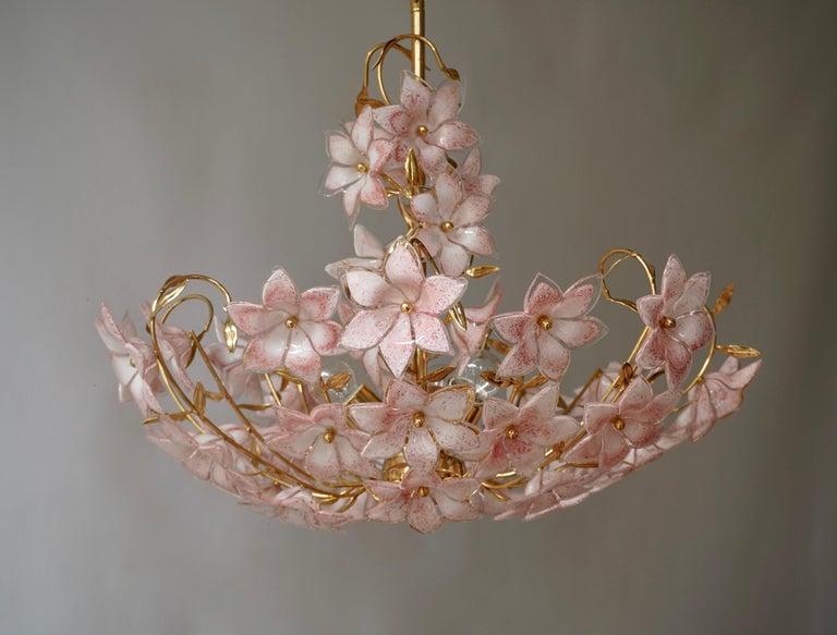 20th Century Gold Pink Round Chandelier Murano Franco Luce Design 1970s Italian Flowers