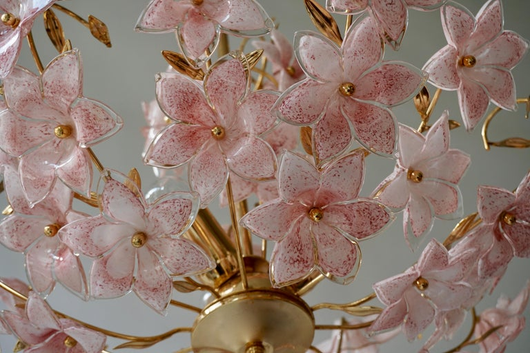 Brass Gold Pink Round Chandelier Murano Franco Luce Design 1970s Italian Flowers