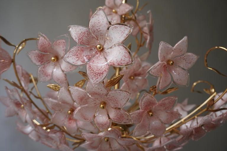 Gold Pink Round Chandelier Murano Franco Luce Design 1970s Italian Flowers 1