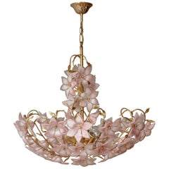 Italian Murano Pink White Flower Bouquet Art Glass and Gilt Brass Chandelier