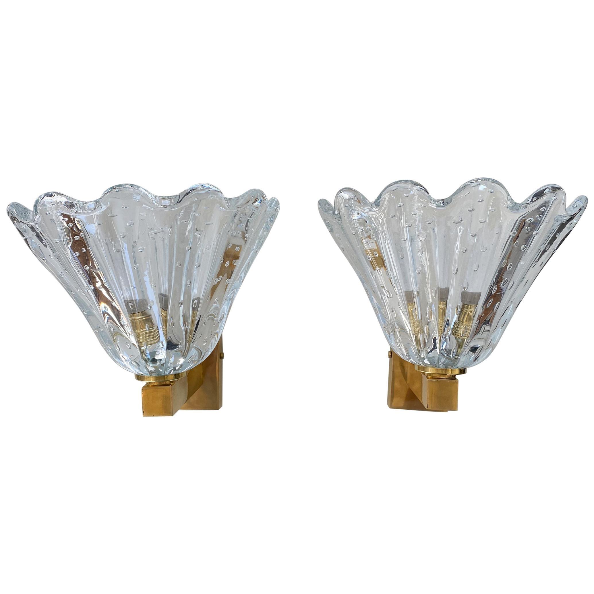 Italian Murano Scalloped Glass Sconces
