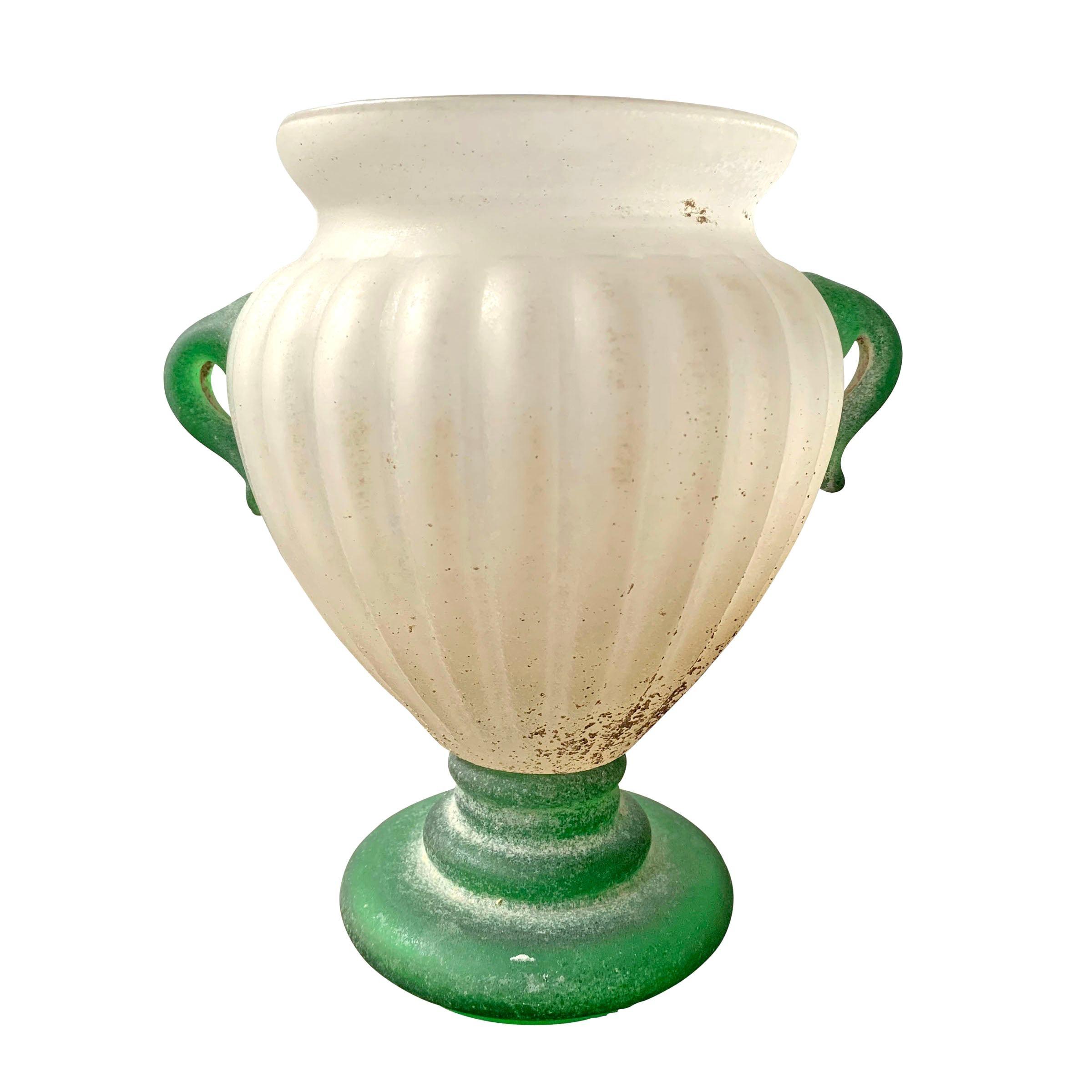 Italian Murano Scavo Vase