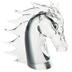 Italian Murano Signed Sommerso Glass Horse Head
