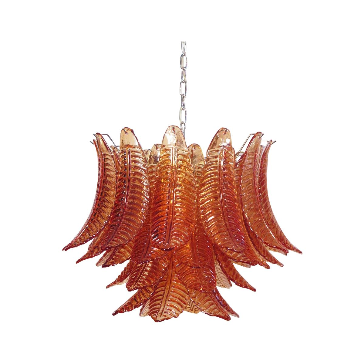 Italian Murano Six-Tier Amber Felci Glass Chandelier, 36 Glasses