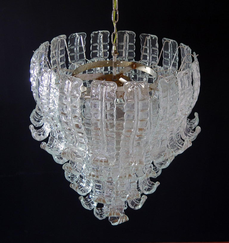 Beautiful and huge Italian Murano chandelier composed of 52 splendid transparent glasses that give a very elegant look Period: 1970s Dimensions: 55.10 inches (140 cm) height with chain; 31.50 inches (80 cm) height without chain; 27.55 inches (70 cm)