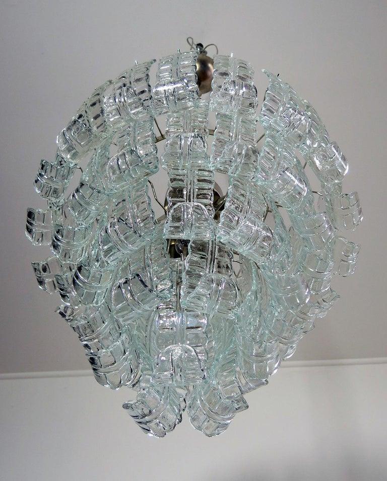 Mid-Century Modern Italian Murano Six-Tier Felci Glass Chandelier, 52 Glasses For Sale