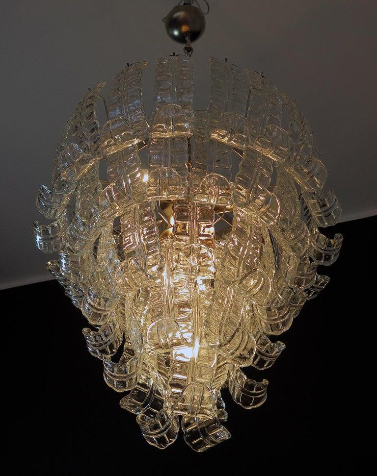 Blown Glass Italian Murano Six-Tier Felci Glass Chandelier, 52 Glasses For Sale