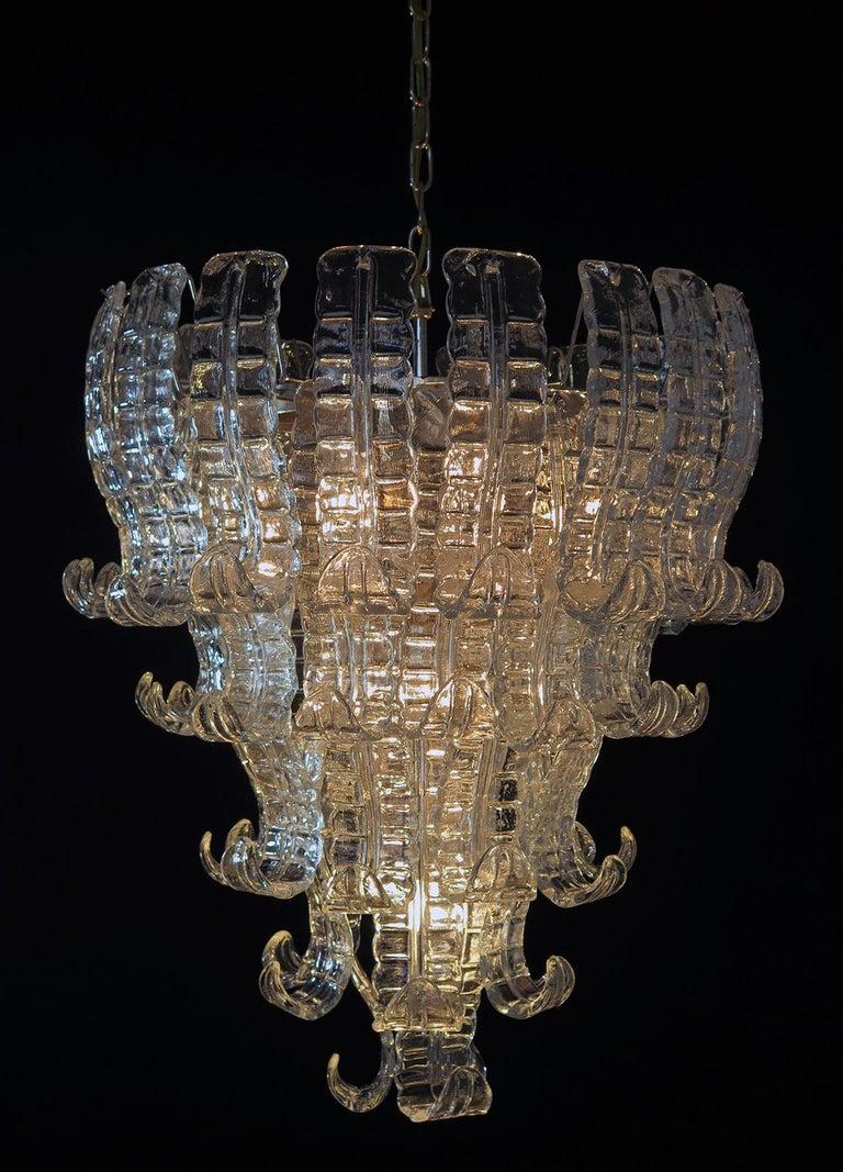Italian Murano Six-Tier Felci Glass Chandelier, 52 Glasses For Sale 2