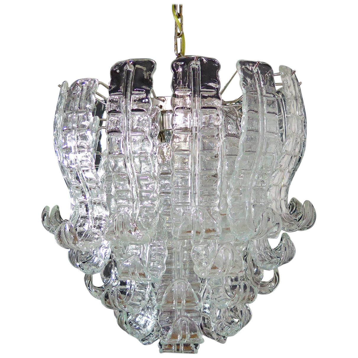Italian Murano Six-Tier Felci Glass Chandelier