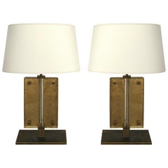 Italian Murano Slab Glass Table Lamps with Gold Leaf and Brass