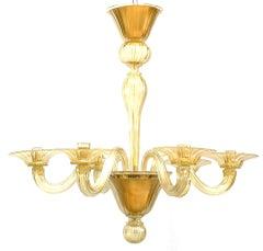 "Italian Murano ""Soffiati"" Gold Dusted Glass Chandeliers, circa 1990"