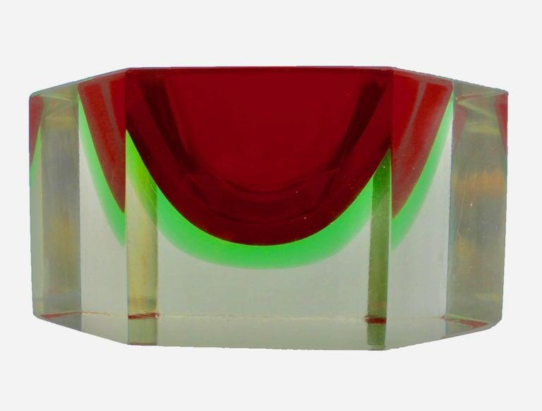Mid-Century Modern Italian Murano Sommerso Flavio Poli Glass Vide Poche with Label For Sale