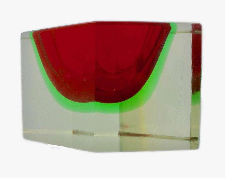 Faceted Italian Murano Sommerso Flavio Poli Glass Vide Poche with Label For Sale