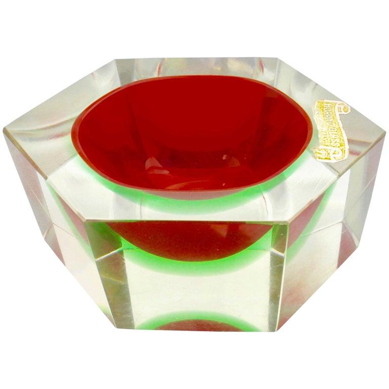 Italian Murano Sommerso Flavio Poli Glass Vide Poche with Label For Sale