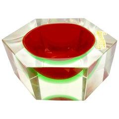 Italian Murano Sommerso Flavio Poli Glass Vide Poche with Label