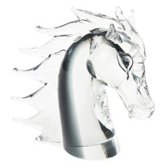Italian Murano Sommerso Glass Horse Head Signed