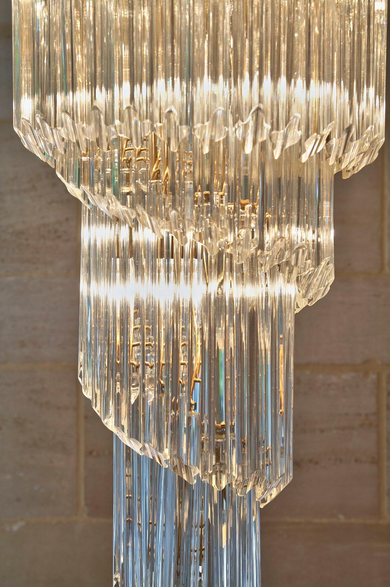 Chandelier cascade spiral Venini Murano crystal 1970   Selency