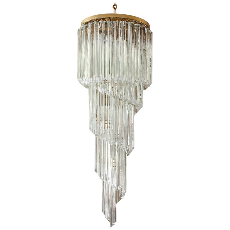 Murano Spiral Chandelier: Italian Murano Spiral Chandelier By Venini For Sale At 1stdibs