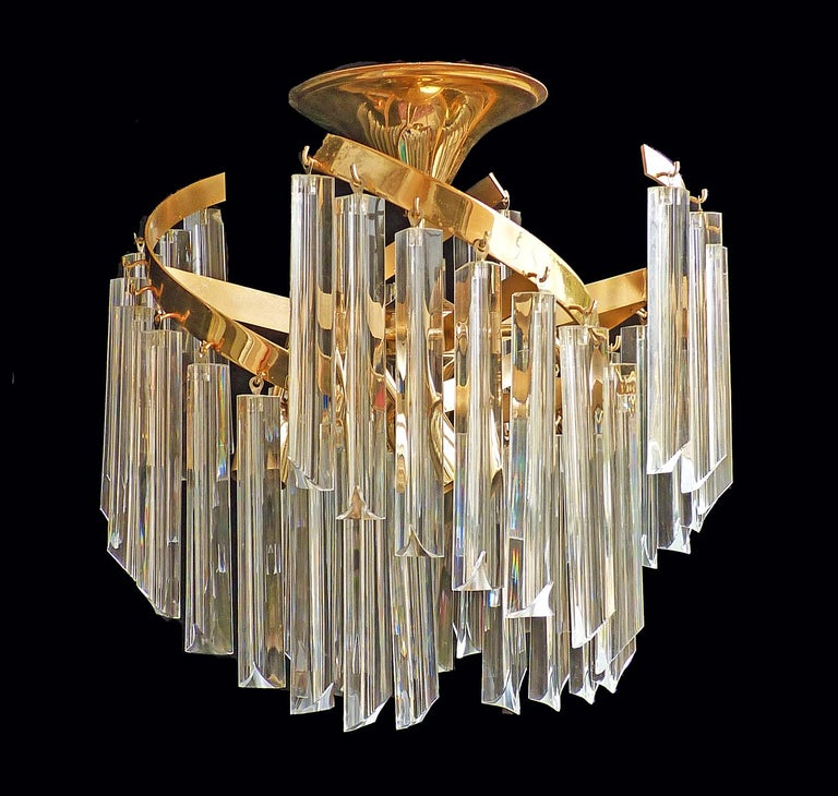1970s vintage midcentury Italian Murano spiral Venini Camer Triedi clear crystal prism and gold-plated brass chandelier