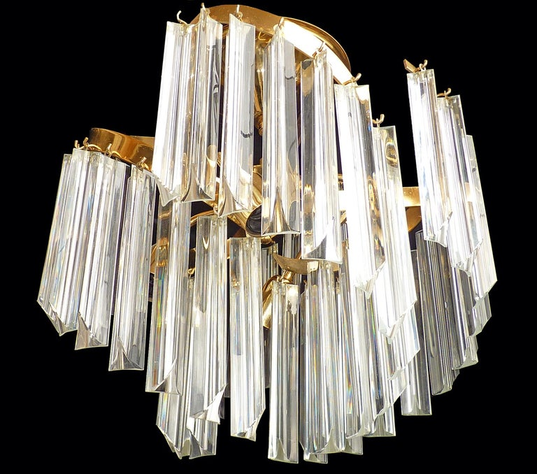Mid-Century Modern Italian Murano Spiral Venini Camer Triedi Clear Crystal Prism Gilt Chandelier For Sale