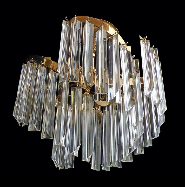Late 20th Century Italian Murano Spiral Venini Camer Triedi Clear Crystal Prism Gilt Chandelier For Sale