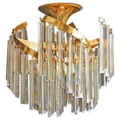 Italian Murano Spiral Venini Camer Triedi Clear Crystal Prism Gilt Chandelier