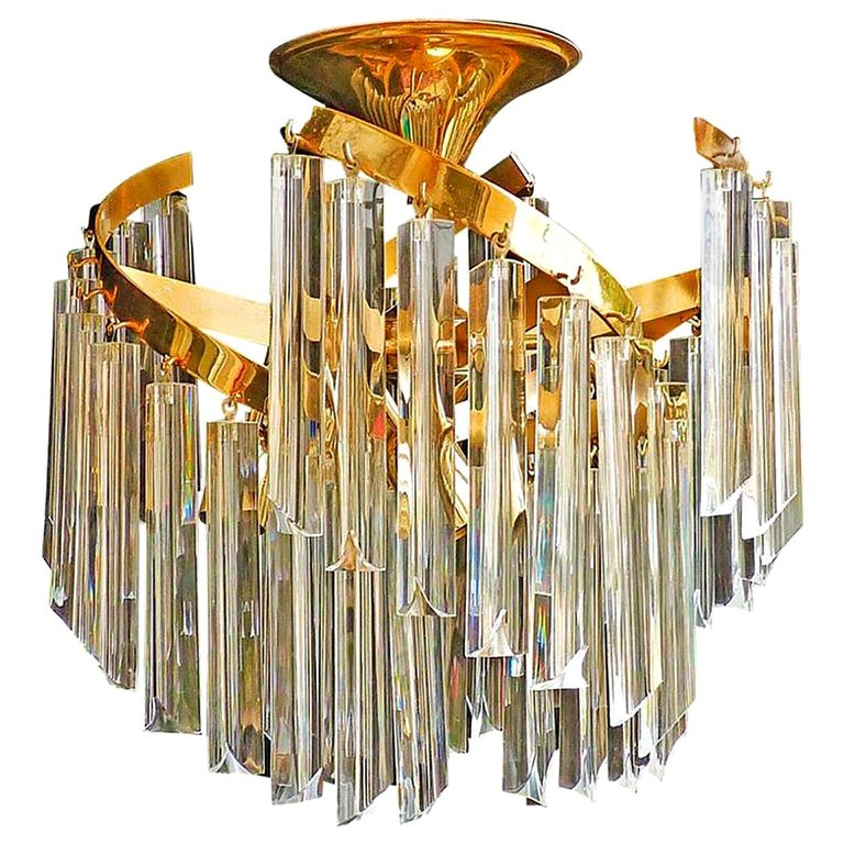 Italian Murano Spiral Venini Camer Triedi Clear Crystal Prism Gilt Chandelier For Sale