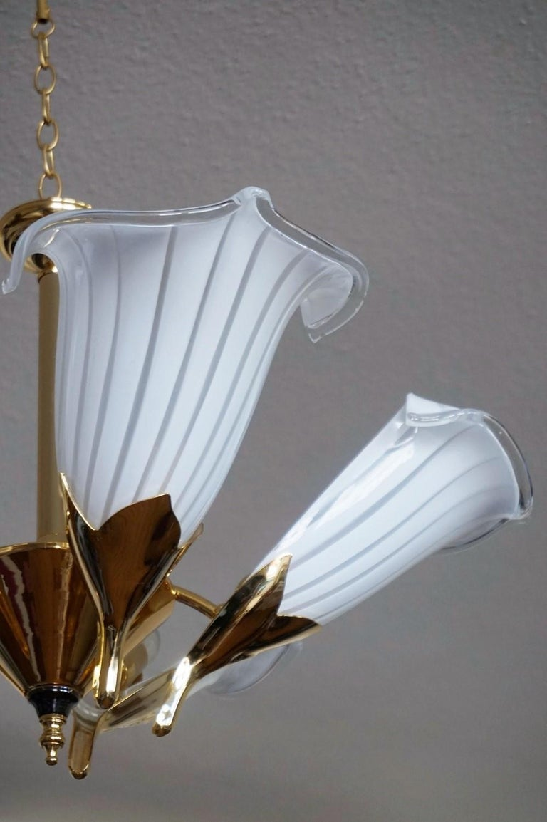 Gilt Hollywood Regency Murano Glass Calla Lily Chandelier by Franco Luce, Italy 1970s For Sale