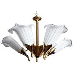 Hollywood Regency Murano Glass Calla Lily Chandelier by Franco Luce, Italy 1970s
