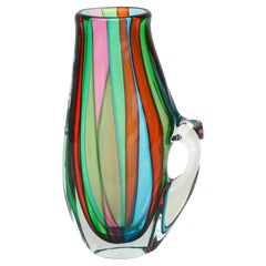 Italian Murano Striped Turquoise, Green, Pink, Red, Clear Signed Glass Pitcher
