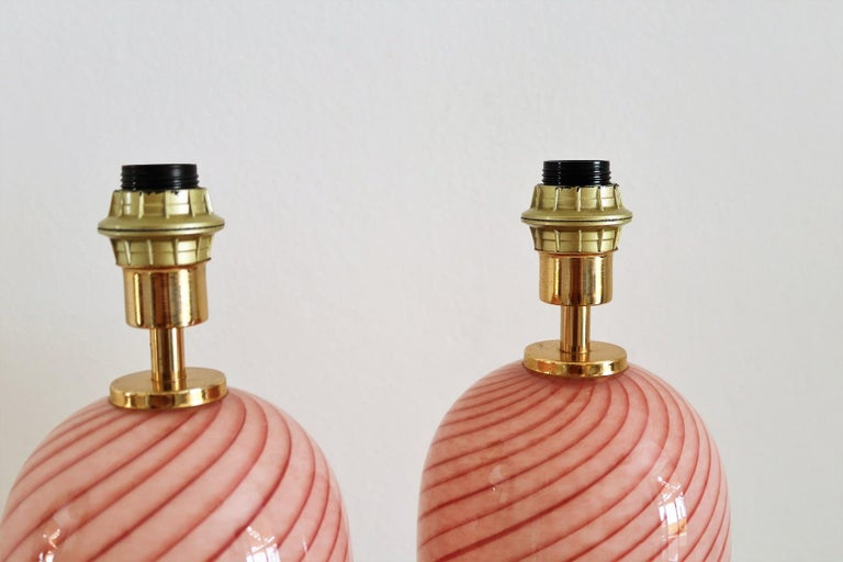 Italian Murano Swirl Glass Table Lamps in Pink, 1970, Set of Two For Sale 1