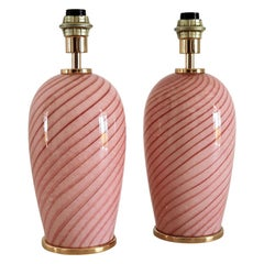 Italian Murano Swirl Glass Table Lamps in Pink, 1970, Set of Two
