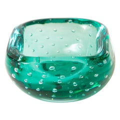 Italian Murano Teal Emerald Green Glass Square Bowl with Bullecante