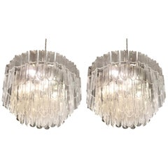 Italian Murano Transparent White Glass Chandeliers Attributed to Mazzega, 1970s