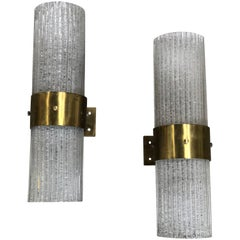 Italian Murano Tube Brass and Glass Wall Sconces, 1960s
