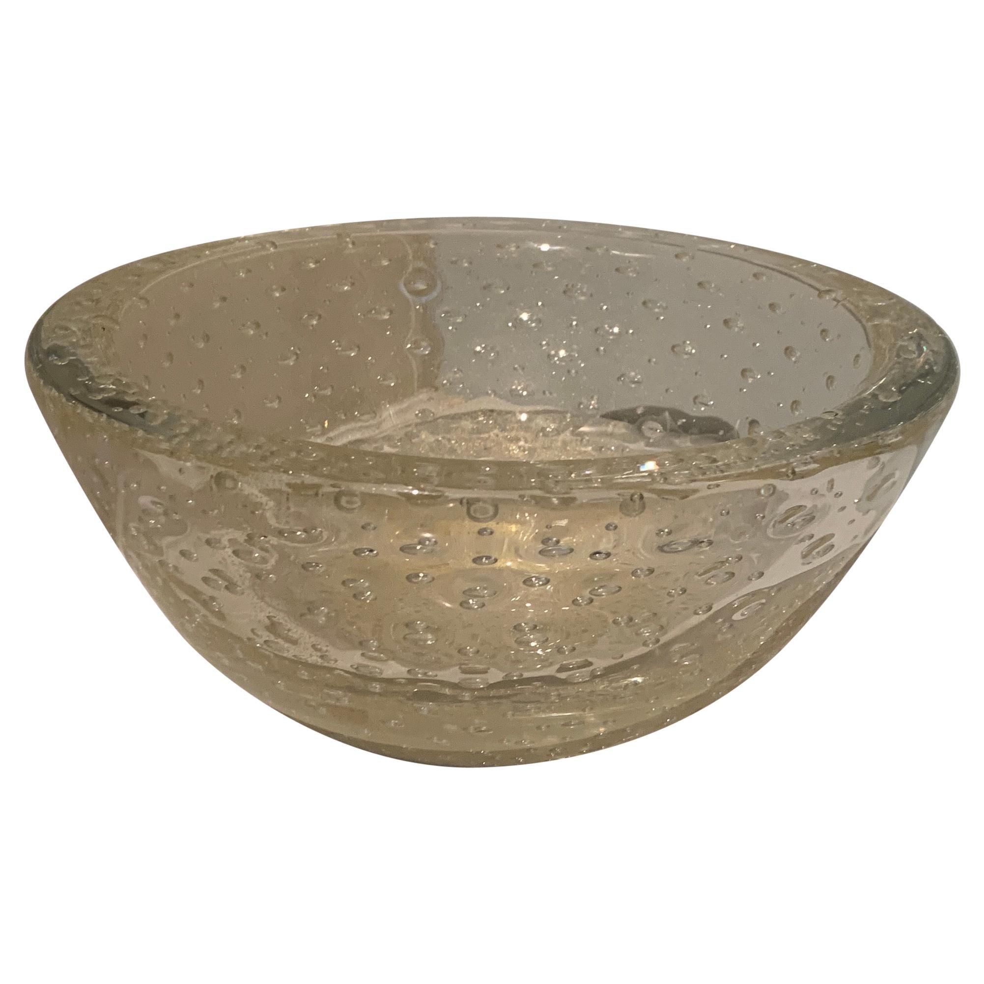 Italian Murano Venini Bullicante Bowl in the Style of Carlo Scarpa