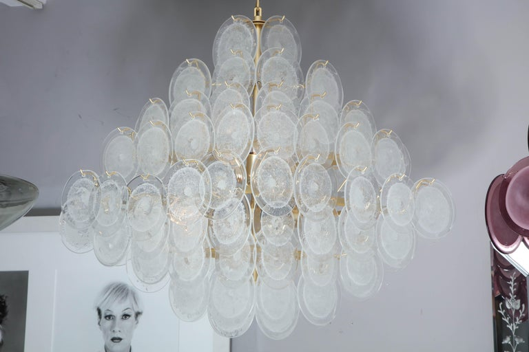 Italian Murano Venini disc chandelier in polyhedral shape.