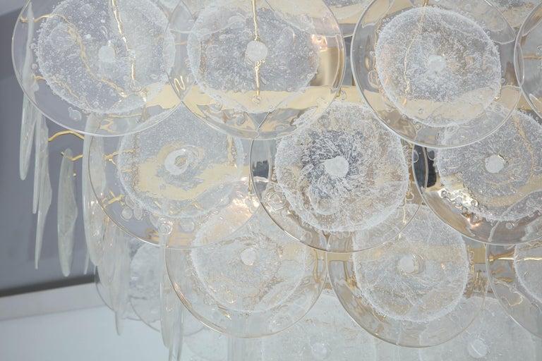 American Italian Murano Venini Disc Chandelier in Polyhedral Shape For Sale