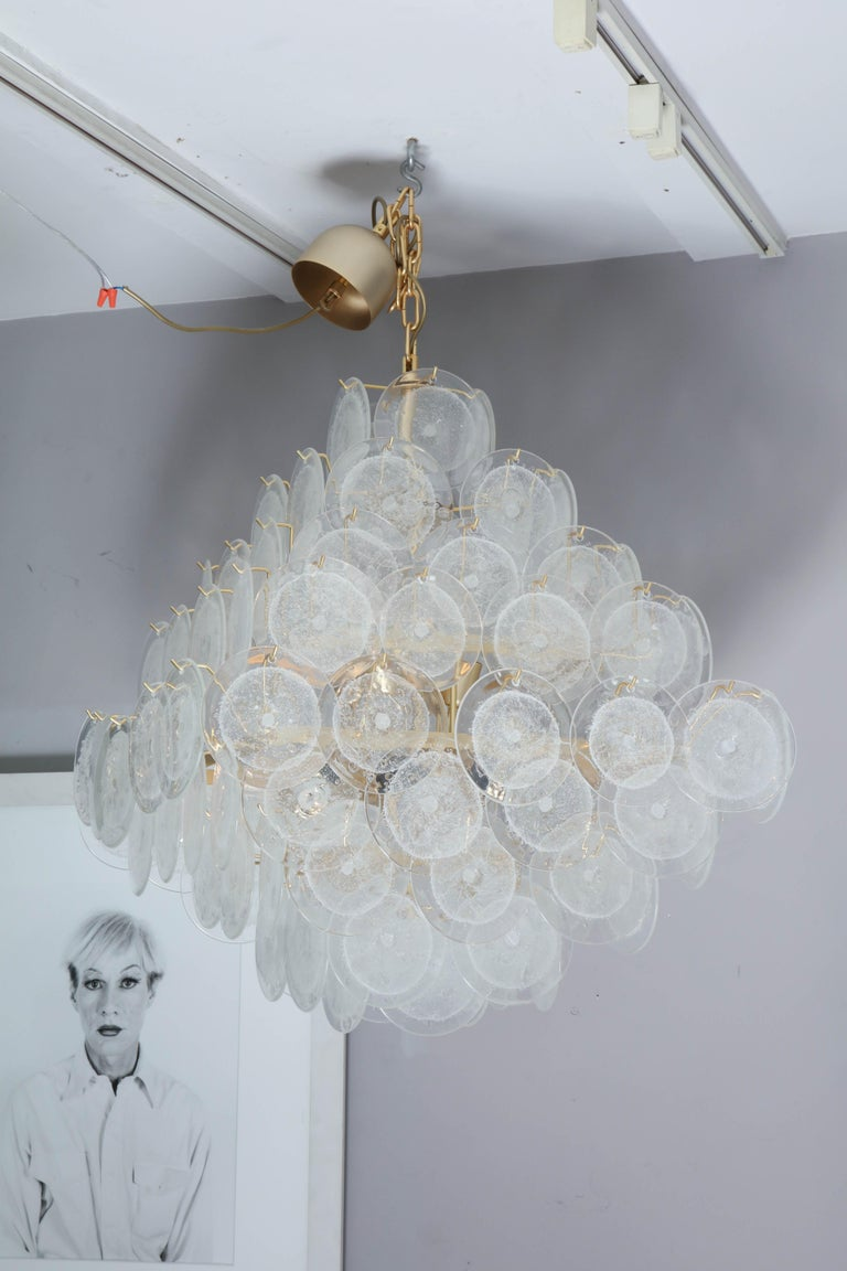 Italian Murano Venini Disc Chandelier in Polyhedral Shape In Excellent Condition For Sale In New York, NY