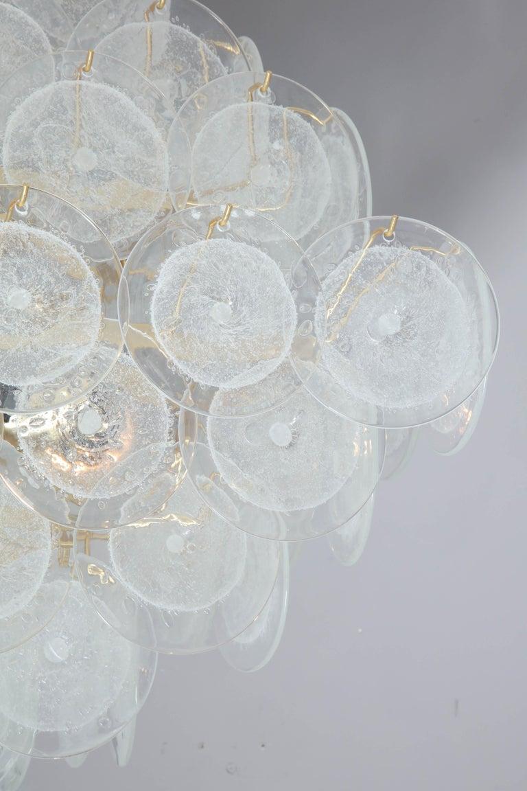 Murano Glass Italian Murano Venini Disc Chandelier in Polyhedral Shape For Sale