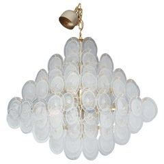 Large Clear Bubble Murano Glass Disc Chandelier in Octahedron Shape
