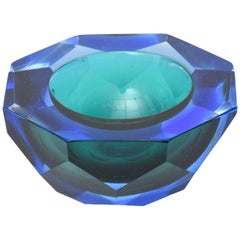 Italian Murano Vintage Diamond Faceted Sommerso Geode Glass Bowl