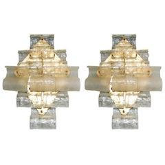 Italian Murano Waves Glass Sconces by Mazzega