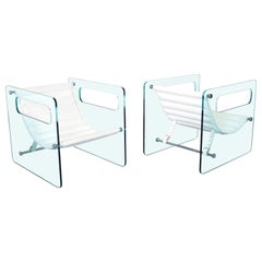 "Italian ""Naked"" Glass Lounge Chairs by Giovanni Tommaso"