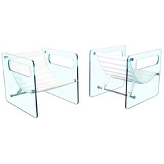 """Italian """"Naked"""" Glass Lounge Chairs by Giovanni Tommaso"""